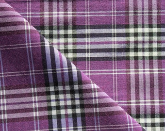Lilac, Black and White Checked Tartan