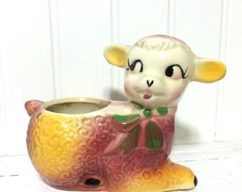 Vintage Small Side Eyed Lamb Planter