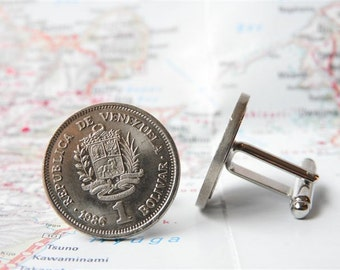 Venezuelan coin cufflinks - made of original coins from Venezuela - traveladdict - explorer - wanderlust