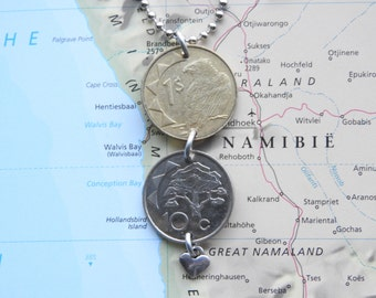 Namibia double coin necklace - bird and tree picture - made of an original coin from Namibia