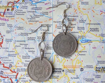 Spanish Peseta coin earrings - made of coins from Spain - wanderlust travelgift