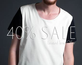 Men's Oversized Color Blocked Woven T-Shirt in Minimal Black and White