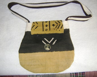 African Mudcloth Mustard/Brown Print Handbag/Purse/Tote with Strap and Inside Cell Phone Pocket