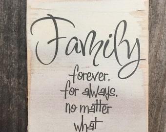 Family forever for always,hanging wood sign,cute family sign,Gallery wall art,Shabby Chic,typography art,family gift,gift for mom