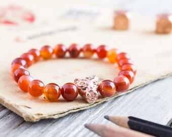 8mm - Orange agate beaded rose gold Leopard head stretchy bracelet, made to order yoga bracelet, mens bead bracelet, womens bracelet