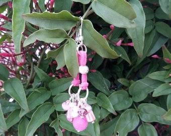 Pink earrings. Handmade.