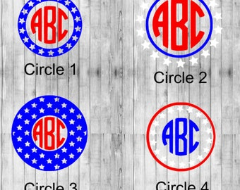 Red White and Blue Monogram Decal
