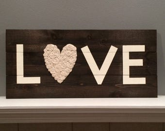 Rustic wood LOVE sign, Home Decoration