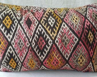 """Hand Made Lumbar Cicim Kilim Pillow Cover Feet:1'3""""2'0"""" 40×60cm  lKilim Pillow Cover Cushion Cover Throw Pillow Decorative Pillow Lumbar"""