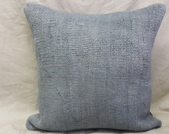 "Kilim Pillow, 18""×18""inches, Decorative Pillow, Hemp Pillow, Linen Pillow, Gray Pillow, Cushion Cover, Pillow Cover, Throw Pillow, Tribal"
