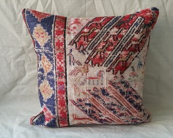 "Hand Made Kilim Pillow Cover Size:18""18""İnches 45×45cm Decorative Kilim Pillow Hand Woven Kilim Pillow Cushion Cover Hand Made Kilim Pillow"