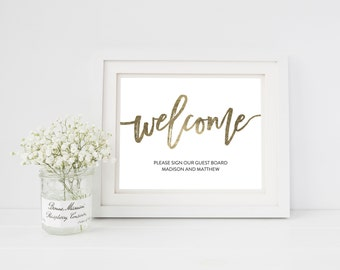Wedding Sign Template   Welcome Guest Book Sign   Wedding Sign   Printable Wedding Sign   5x7 & 8x10   EDN 5456