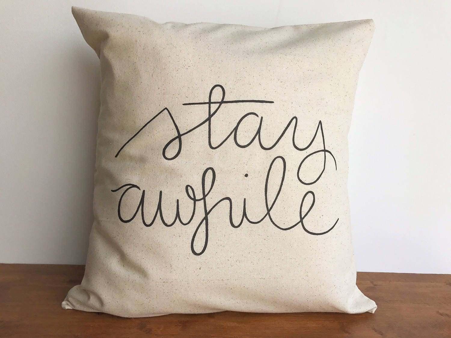 Throw Pillow Covers Farmhouse : Stay awhile throw pillow case couch pillows farmhouse decor