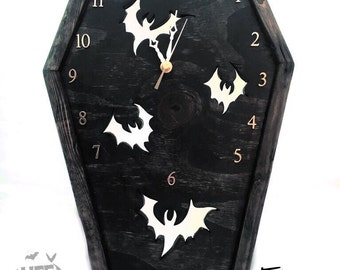 Coffin Bat Clock, Coffin Clock, Bat Clock, Gothic Clock, Clock, Bat, Gothic, Gothic Furniture, Horror, Horror Decor, Gothic Decor