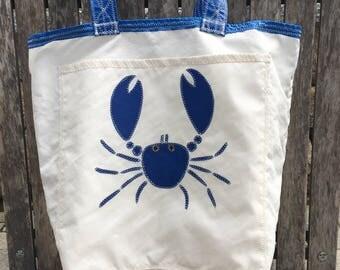 Blue Crab - Medium Recycled Sail Bag - The Weekender Bag