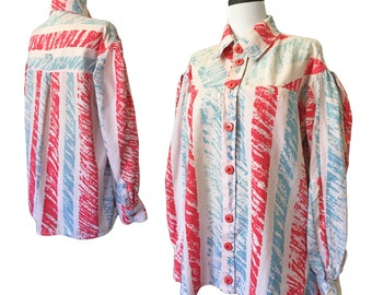 Vintage Abstract Striped Cotton Smock Blouse — Medium