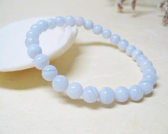Blue Lace Agate Bracelet Gemstone Bracelet Mens Bracelet Throat Chakra Bracelet Blue Lace Chalcedony Bracelet Healing Crystal Mala Bracelet