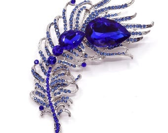 Blue Feather Brooch, Crystal Black Brooch, Feather Brooch, Rhinestone Bridal Brooch, Wedding Accessories, DIY Supplies