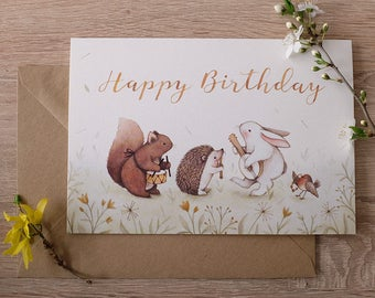 Happy Birthday : joyful spring and floral inspired greeting card, Squirrel, Hedgehog, Bunny. Designed and illustrated by Nina Stajner
