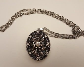 Silver Pendant Locket with Crystals