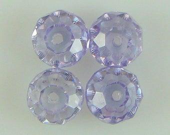 4 10mm faceted CZ cubic zirconia rondelle beads violet 6008