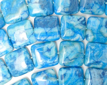 """20mm blue crazy lace agate flat square beads 16"""" strand 38156"""