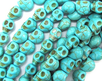 "8x10mm blue turquoise carved skull beads 15.5"" strand 31425"