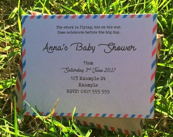 Hand Made Baby Shower Invitations.