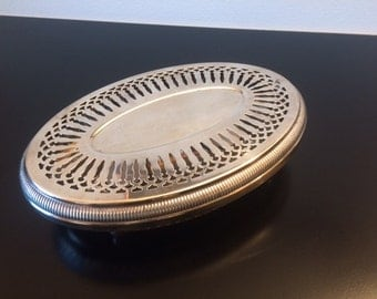 antique silver plate rechaud oval food warmer art deco 1930s hot plate art deco