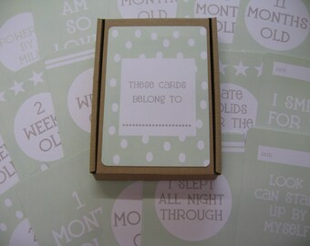 Baby Milestone Cards - Pack of 31 GREEN Baby Shower, Christening etc, Gift