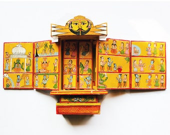 The Kavaad - Handcrafted 500 Year Old Ramayan Storybook in Wood, Hindu Mythology Story Book,  Hand Painted Wooden Storybook of Ram & Sita
