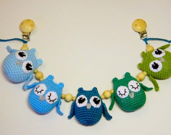 Crochet stroller toy with owls Toddlers toys Baby car seat toy Pram toy  Stroller chain Crochet teething toy Baby shower gift