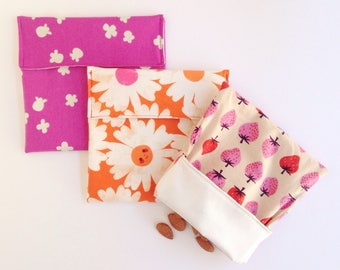 Environmentally Friendly - Set of 3 Reusable Snack Bags - Zero Waste Snack Bag - Food safe fabric snack pouch - No waste