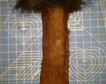 """Bark tanned bison leather bag with primitive friction fire kit. Fur lined 11""""X3"""" case with strap."""