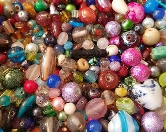 Bead soup, glass bead lot, destash beads, mixed beads, jewelry supplies, clearance beads, jewelry destash, bag of beads destash, bead stash