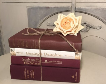 maroon books, French Country Colors, Merlot Books, Wine Color Vintage Books Maroon, Rag Paper, Deckled Edge, books by color, instant library