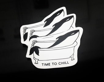3 Stickers - Time to chill - orca Illustration