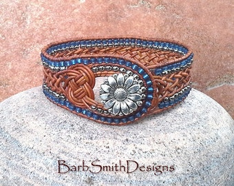 "ON SALE!  Woven Leather Cuff Bracelet, Celtic Knot Beaded Wrap, Blue Silver, Southwest, Size 7 1/4"", Weavy One in Knots, Leather Denim"