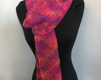 Knitted Soft Very Long Hot Pink Tweed Scarf