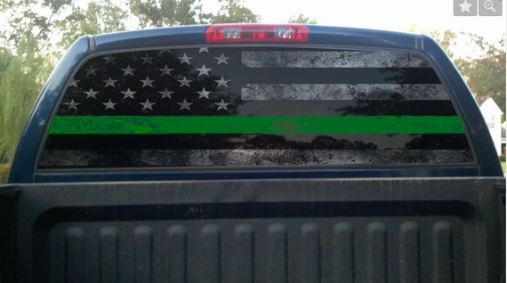 Thin Green Line Rear Window Graphic Perf Decal Border