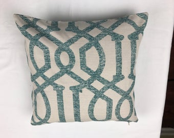 Teal and Beige Elegant Pattern Decorative Pillow Cover with Zipper