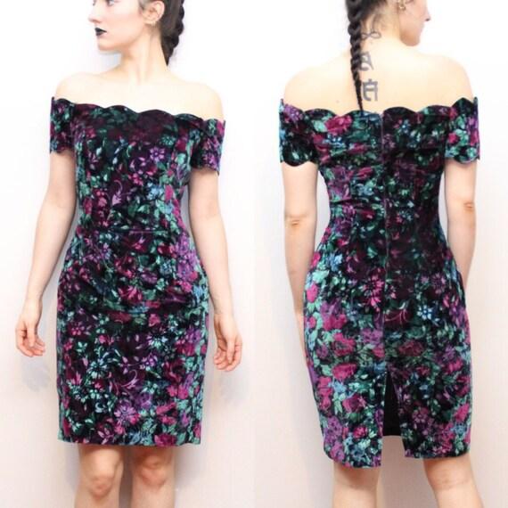 80's VTG Floral Crushed Velvet Off-the-shoulder Fitted Dress