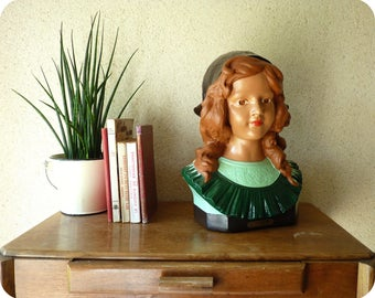 """Old bust of girl - plaster bust showcase """"Little Coquette"""" - polychrome plaster"""