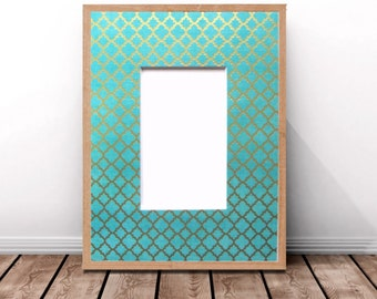 Pre-Cut Picture Frame Mat,Teal and Metallic Gold,Photo Frame Matting,Framing Mats,Decorative Frame Mat,Damask Design