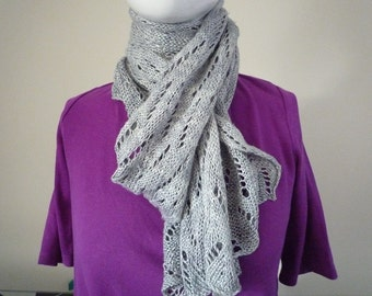Blue/grey silk/cellulose hand knit lace scarf