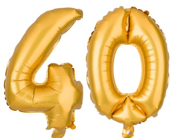40 Number Balloons, 40th Birthday Party Balloons, 40 Balloon Numbers, 40 Party Supplies, 40th Birthday Decorations, Decor, 16 Inch Gold