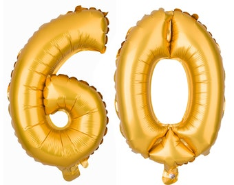 60 Number Balloons, 60th Birthday Party Balloons, 60 Balloon Numbers, 60 Party Supplies, 60th Birthday Decorations, Decor, 16 Inch Gold