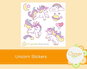 Unicorn Planner Stickers, Unicorn Stickers, Rainbow Stickers