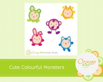 Mini Monsters Sticker, Monster Stickers, Scrapbooking, Cute Monsters