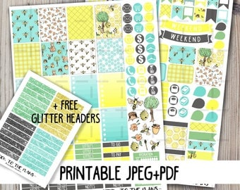 Bees printable planner stickers cute bees honey tree honeycomb flower summer printable sticker kit for use with Erin Condren LifePlannerTM